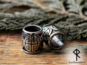 Large Viking Beads Shield Knot Celtic Hair Rings, Stainless Steel TheNorseWind