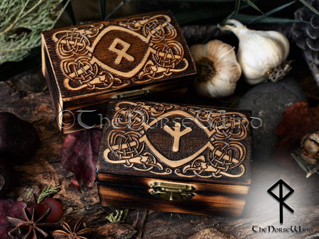 Viking Ravens Rune Box, Carved Wooden Chest Rune in Your Choice TheNorseWind