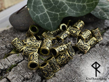 Load image into Gallery viewer, Viking Beard Beads Futhark Runes Hair Rings - Bronze 6mm Hole TheNorseWind