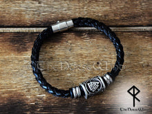 Load image into Gallery viewer, Valknut Leather Bracelet, Viking Runes Odin Wristband TheNorseWind