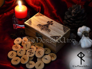 Rune Set Elder Futhark with Thor's Hammer Mjolnir Box Viking Runes Norse Runes Wooden Runes Norse Mythology Wicca Pagan Asatru TheNorseWind