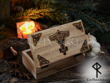 Load image into Gallery viewer, Rune Set Elder Futhark with Thor's Hammer Mjolnir Box Viking Runes Norse Runes Wooden Runes Norse Mythology Wicca Pagan Asatru TheNorseWind