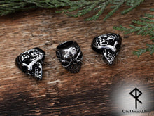 Load image into Gallery viewer, Viking Skull Beard Beads, Solid Hair Rings, Stainless Steel 8mm hole TheNorseWind