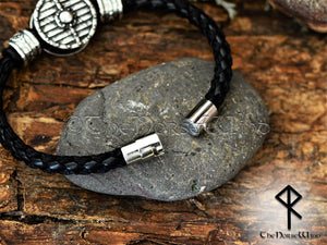 Viking Shield Bracelet Leather Wristband - Silver TheNorseWind
