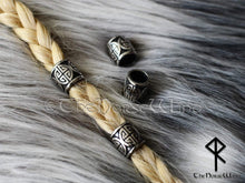 Load image into Gallery viewer, Large Viking Beads Shield Knot Celtic Hair Rings, Stainless Steel TheNorseWind