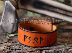 Personalized Viking Bracelet, Name in Runes Leather Cuff, Whiskey/English Tan TheNorseWind