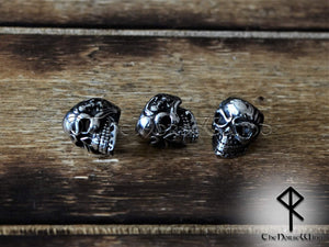 Viking Skull Beard Beads, Solid Hair Rings, Stainless Steel 8mm hole TheNorseWind