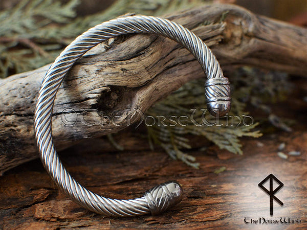 Viking Bracelet, Ragnar Arm Ring Steel Torque TheNorseWind