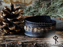 Load image into Gallery viewer, Custom Viking Bracelet - Name in Runes, Black Leather Runes Cuff TheNorseWind