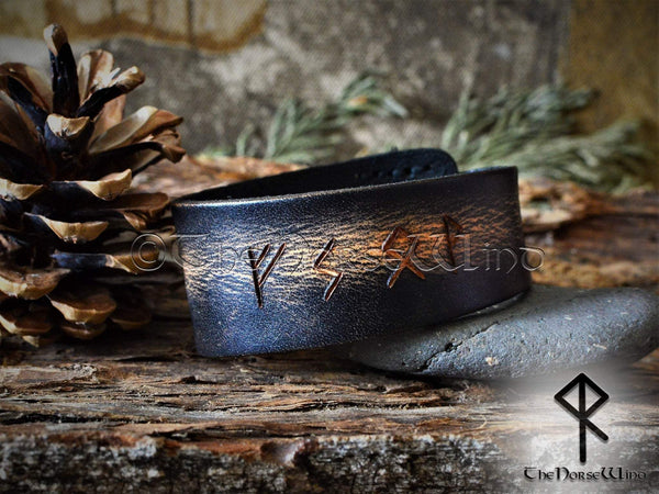 Custom Viking Bracelet - Name in Runes, Black Leather Runes Cuff TheNorseWind