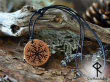 Load image into Gallery viewer, Helm of Awe Necklace - Aegishjalmur Wooden Pendant TheNorseWind