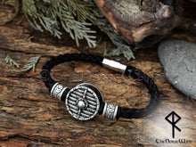 Load image into Gallery viewer, Viking Shield Bracelet Leather Wristband - Silver TheNorseWind