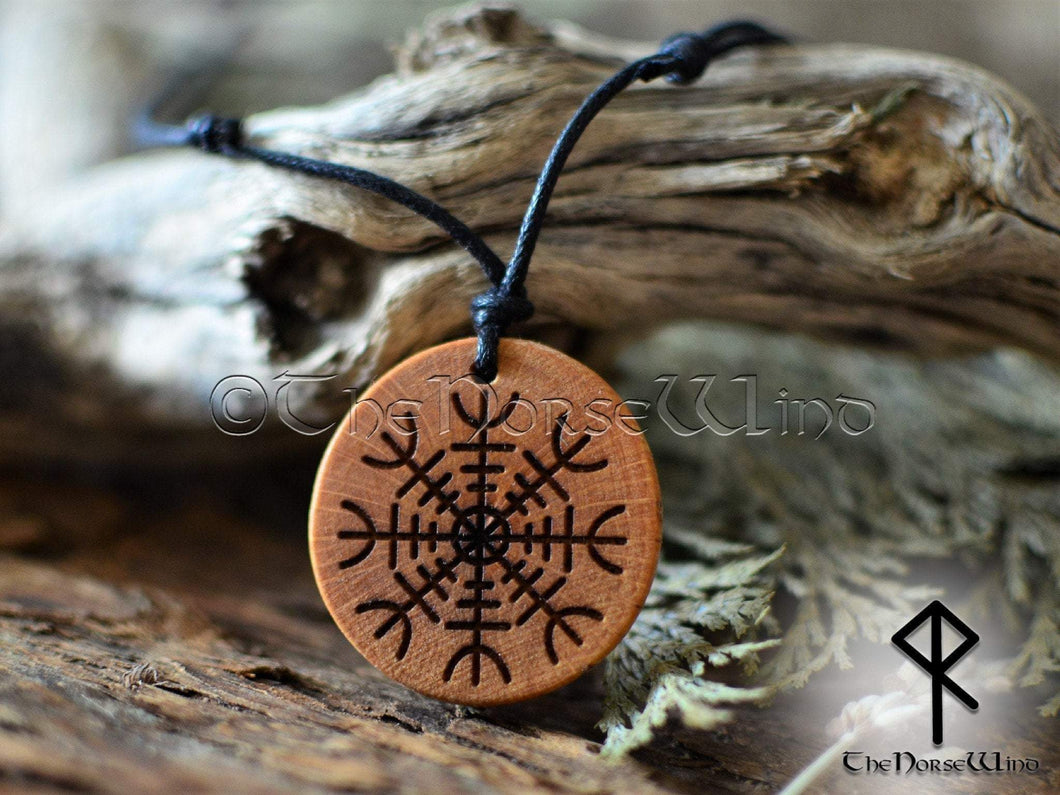Helm of Awe Necklace - Aegishjalmur Wooden Pendant TheNorseWind