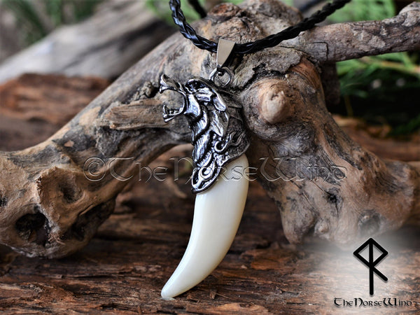 Fenrir Wolf Head Viking Necklace, Norse Bone Pendant TheNorseWind