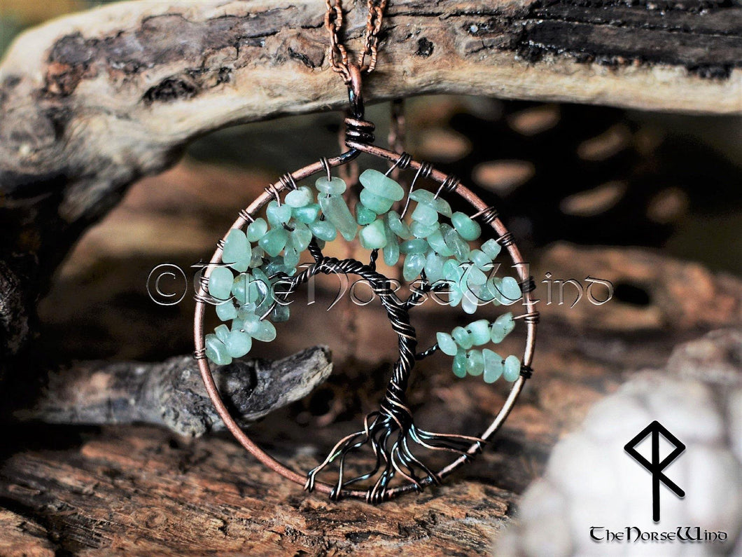 Celtic Tree of Life Pendant, Yggdrasil Necklace with Green Aventurine Crystal, Good Luck Viking Amulet, World Tree Necklace, Norse Mythology TheNorseWind