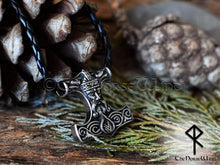 Load image into Gallery viewer, Thor's Hammer Necklace, Odin Helmet Viking Mjolnir Pendant TheNorseWind