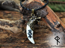 Load image into Gallery viewer, Viking Rune Necklace, Fenrir Wolf Head Carved Bone Pendant TheNorseWind