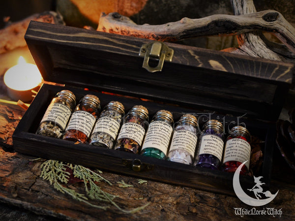 Witchcraft Box Mini Herbs & Crystals Witch Starter Kit, Wicca Box with Magical Herbs Witches Herbal Set, Wiccan Altar Set, Pagan Occult TheNorseWind
