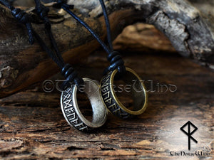 Viking Runes Ring Necklace Silver/Bronze Amulet TheNorseWind