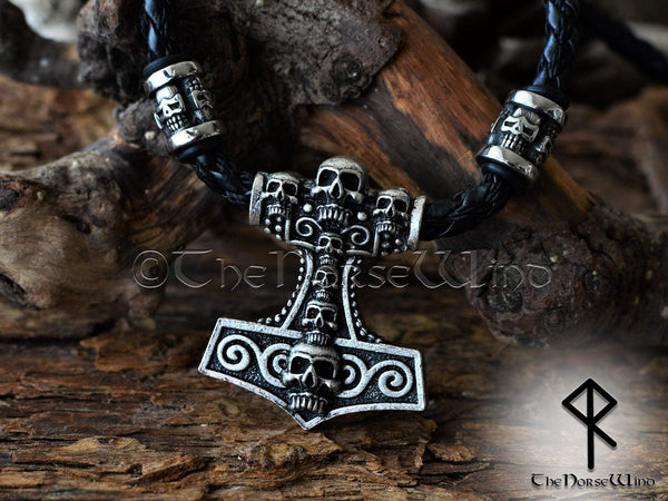 Thor's Hammer Viking Necklace Skull Mjolnir Pendant - Silver TheNorseWind