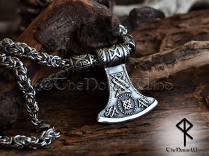Thor Hammer Viking Axe Necklace - Steel Mjolnir Pendant TheNorseWind