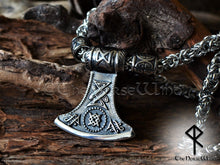 Load image into Gallery viewer, Thor Hammer Viking Axe Necklace - Steel Mjolnir Pendant TheNorseWind