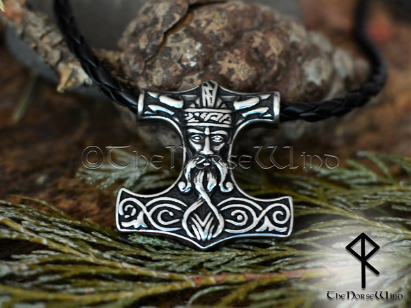 Thor's Hammer Necklace, Odin Helmet Viking Mjolnir Pendant TheNorseWind