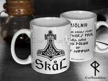 Load image into Gallery viewer, Thor's Hammer Viking Mug, Skål Mug - Mjolnir Coffee Cup- 11oz TheNorseWind