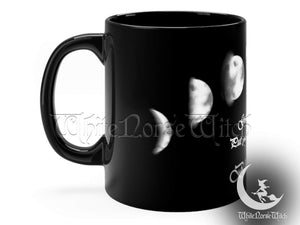 Moon Phases Mug, Wicca Goddess Prayer Mug, Witchy Gift - Black Coffee Cup 11oz TheNorseWind