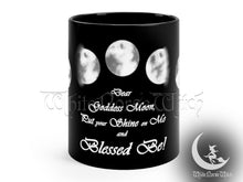 Load image into Gallery viewer, Moon Phases Mug, Wicca Goddess Prayer Mug, Witchy Gift - Black Coffee Cup 11oz TheNorseWind