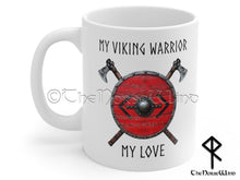 Load image into Gallery viewer, Viking Husband Mug Anniversary Gift, Bjorn Shield Runes Mug TheNorseWind