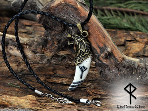 Viking Rune Necklace, Fenrir Wolf Head Carved Bone Pendant TheNorseWind
