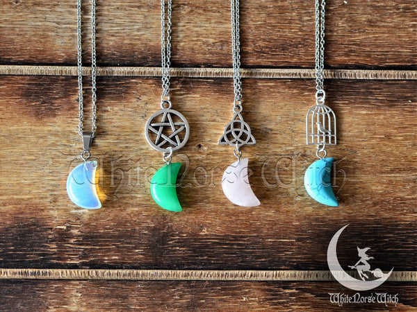 Crystal Moon Necklace, Customized Witches Moon Pendant, Minimalist Personalized Charm, Witchcraft Spiritual Wiccan Jewelry TheNorseWind
