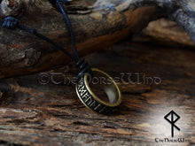 Load image into Gallery viewer, Viking Runes Ring Necklace Silver/Bronze Amulet TheNorseWind