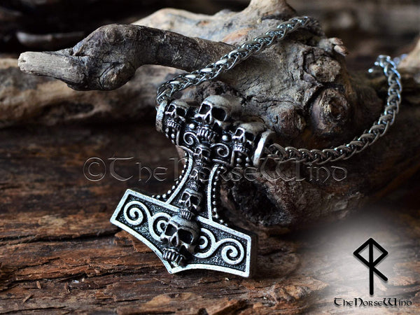 Viking Skull Thor's Hammer Necklace Mjolnir Pendant TheNorseWind