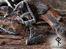 Load image into Gallery viewer, Viking Mjolnir Necklace, Personalized Thor's Hammer Runes Pendant TheNorseWind