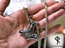 Load image into Gallery viewer, Thor's Hammer Viking Necklace, Mjolnir Pendant with Odin Ravens TheNorseWind
