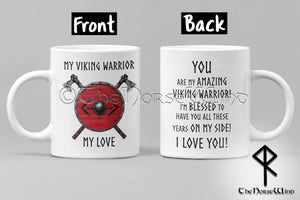 Viking Husband Mug Anniversary Gift, Bjorn Shield Runes Mug TheNorseWind