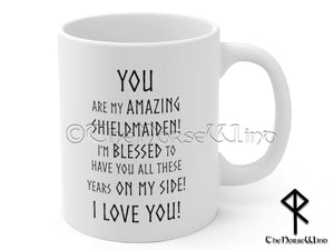 Viking Shieldmaiden Mug, Anniversary Gift for Wife or Girlfriend TheNorseWind