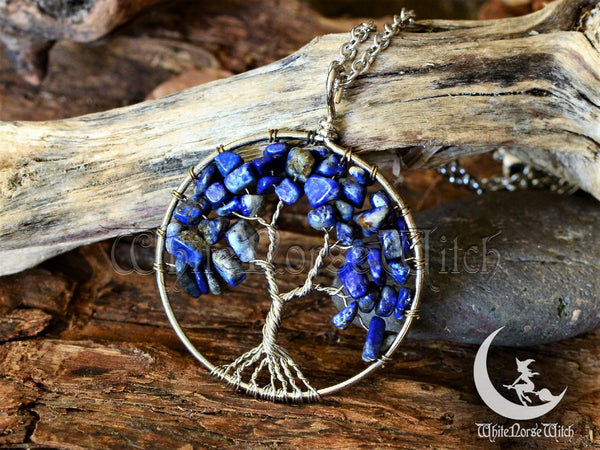 Lapis Lazuli Necklace - Tree of Life / Yggdrasil Crystal Pendant - TheNorseWind