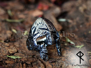 Viking Helmet Ring, Norse Warrior's Antique Silver Men Ring - TheNorseWind