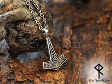 Load image into Gallery viewer, Mjolnir Necklace Viking Pendant Thor Hammer