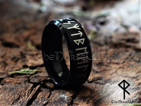 Viking Runes Ring - Black Stainless Steel