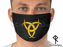 Load image into Gallery viewer, Odin's Horn Viking Face Mask, Triple Horn of Odin / Biohazard Fabric Face Mask