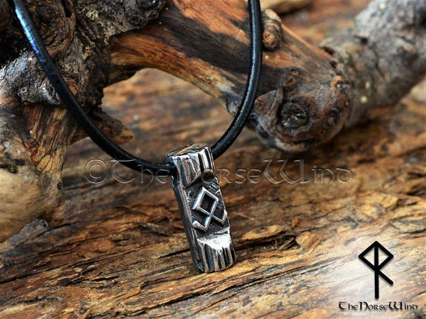 Othala Rune Viking Necklace, Norse Odal Rune Prosperity Amulet, Stainless Steel