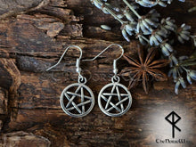 Load image into Gallery viewer, Pentagram Earrings, Witch Jewelry Wicca Earrings, Pagan Pentacle Earrings, Tribal Earrings, Gothic Jewelry,  TheNorseWind