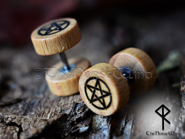 Pentagram Gauges Gothic Tunnel Earrings, Wiccan Pentacle Wooden Ear Plugs 10mm - TheNorseWind