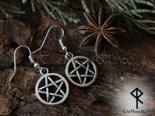 Load image into Gallery viewer, Pentagram Earrings, Witch Jewelry Wicca Earrings, Pagan Pentacle Earrings, Tribal Earrings, Gothic Jewelry, Witchy Gift TheNorseWind