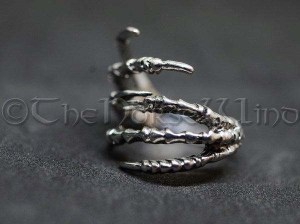 Raven Claw Ring, Viking Crow Ring Odin's Ravens Silver Hugin and Munin TheNorseWind