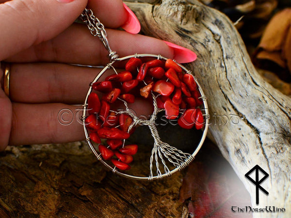 Tree of Life Red Coral Necklace, Yggdrasil Crystal Pendant, Wiccan Gift